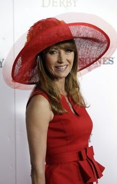 Actress Jane Seymour arrives to attend the 139th Kentucky Derby at Churchill Downs Saturday, May 4, 2013, in Louisville, Ky. (AP Photo/Darron Cummings) Funky Hats, Red Hats, Derby Attire, Derby Outfits, Red Hat Society, Races Fashion, Fashion Hats, Lady In Waiting, Derby Day