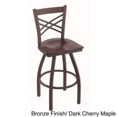 Contemporary Steel Frame with Maple Seat Counter-height Stool (Bronze Finish Dark Cherry Maple Seat), Brown