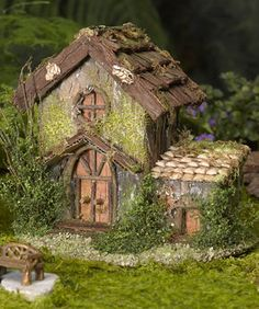 Fairy House Fairy Garden Gardeners Supply might be charming in blues and greens DIY Fairy Gardens Fairy Garden Houses, Garden Cottage, Gnome Garden, Home And Garden, Fairy Village, Fairy Furniture, Miniature Furniture, Furniture Design, Furniture Online