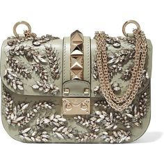 Valentino Lock embellished leather shoulder bag, Women's, Size: One... ($3,290) ❤️ liked on Polyvore featuring bags, handbags, shoulder bags, brown purse, brown handbags, leather handbags, brown shoulder bag and studded leather purse