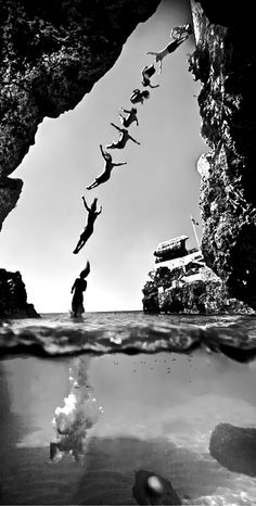 summer, jump, diving, Cliff