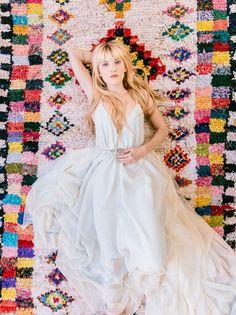 Colorful aztec rug + a pretty boho dress