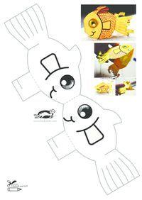 Paper crafts for kids, easy crafts for kids, summer crafts, preschool Easy Preschool Crafts, Paper Crafts For Kids, Easy Crafts For Kids, Summer Crafts, Art For Kids, Sea Crafts, Fish Crafts, Fish Patterns, Doll Patterns