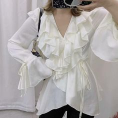 Commuting Chiffon V Neck Ruffled Bell Sleeve Belted Blouse – blinglikes Bell Sleeves, Bell Sleeve Top, Blouse Neck, Blouse Styles, Types Of Sleeves, Sleeve Styles, Chiffon, V Neck, Long Sleeve