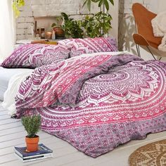 pink ombre duvet cover set king size quilt cover boho comforter cover and pillows