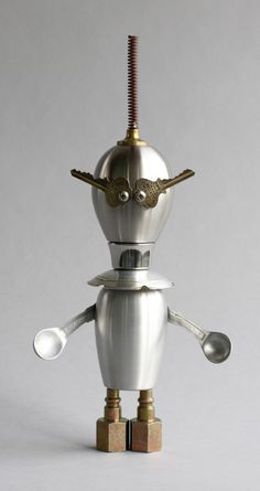Sifty - Found Object Robot Assemblage Sculpture By Brian Marshall