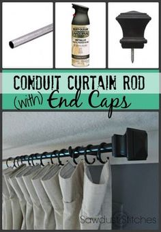 """DIY conduit curtain rod Sawdust2stitches3/4″ Electrical Conduit (10′) Metallic Spray Paint ( I used """"Oil Rubbed Bronze"""") 3/4″  dowel  rod Liquid Nails Screw-on Curtain End Caps"""