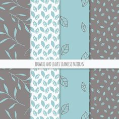 Floral Digital Paper Pack; Vector Seamless Patterns with Flowers, Leaves and Foliage; Printable Scrapbook Papers JPG + EPS; Pastel Blue, Brown, Beige *** INSTANT DOWNLOAD Set of 12 hand drawn seamless patterns with flowers, leaves and foliage in pastel blue, brown and beige.