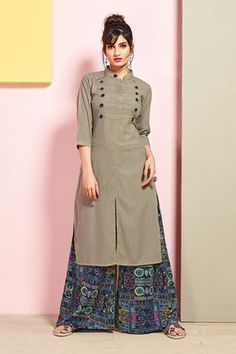 Fashion and pattern will be at the peak of your beauty after you attire this grey rayon cotton party wear kurti. Salwar Designs, Kurta Designs Women, Kurti Designs Party Wear, Plain Kurti Designs, Silk Kurti Designs, Dress Neck Designs, Blouse Designs, Kurta Neck Design, Collar Kurti Design