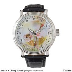 Bee On A Cherry Flower Wrist Watches