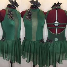 Sleek hunter green custom costume with cutouts in the sides.  gLAM by Adora - Costumes