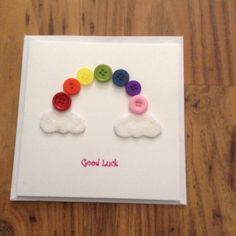 Good Luck rainbow button card by SunshyneOnARainyDay on Etsy