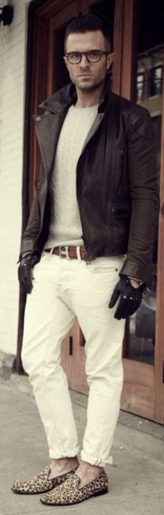 Thin Brown Leather Jacket, Gray Sweater, Hermès Belt, White Jeans, and Leopard Loafers. Men's Spring Summer Street Style Fashion
