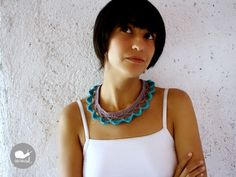 The Circus Crochet Collar Necklace in Turquoise. $30,00, via Etsy.