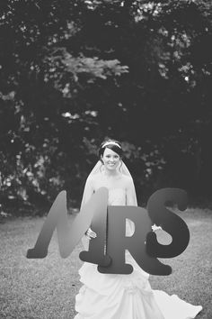 """creative way in announcing the new """"Mrs."""" for bridal photos - thereddirtbride.com - see more of this wedding here Initial Decor, Hunting Wedding, Photographs, Photos, Photo Ideas, Bridal, Future, Creative, Outdoor"""