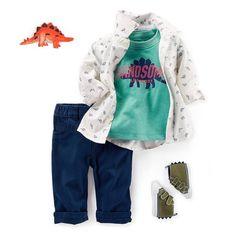 Dressed-up dino. Shop link in bio #easyoutfit #happyboy #lovecarters #dinosaur