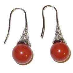 Jasper Earrings Red 01 Drop Ball 10mm Crystals Kundalini Energy Flow Stone Gems (Gift Box)