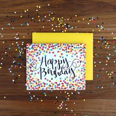 Single Rainbow Confetti Happy Birthday Card, Handwritten Typography on Etsy, $4.50