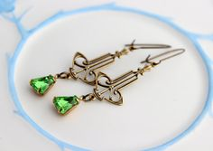 Sale Peridot earrings  art deco style by CobblestoneAvenue on Etsy, $18.00