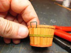 Dollhouse Miniature Furniture - Tutorials   1 inch minis: 1 INCH SCALE BUSHEL BASKET TUTORIAL - How to make a dollhouse bushel basket from card stock.