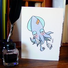Get Well Squid - Handmade Card by Amy Crook