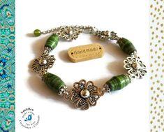 Bracelet Perles Vertes Idée Cadeau Femme Saint Valentin Bracelet Fleurs Perles Artisanales Perles en Papier Bijou Papier