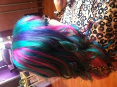 Hair by Kasey O'Hara at The Hair After in Westminster, MD...manic panic. Teal pink purple