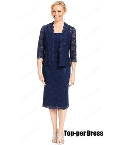 com : Buy Navy blue mother of the bride dresses with jacket plus size ...