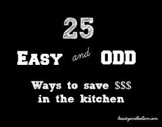 Such GREAT ideas for Saving Money in the Kitchen!! There are some really unique tips!