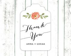 Wedding Thank You Tags, Personalized Favor Tags, Tags with Coral Flower and Script Font