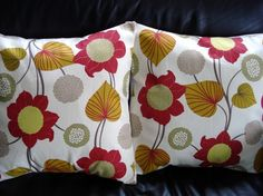Throw+pillow+Red+yellow+mustard+flower+and+leaf+design+by+VeeDubz