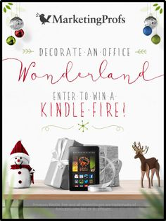 Enter our #OfficeWonderland photo contest: http://snapp.to/1BrbAZp Submit a photo of your office decorated for the holidays and you could take home a Kindle Fire to keep all your marketing reading in one place!