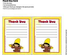 Curious George Thank You Cards . Birthday Party . PBS Parents | PBS