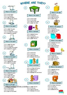 prepositions of place worksheet - Free ESL printable worksheets made by teachers English Lessons For Kids, Kids English, English Tips, English Study, English Words, Learn English, French Lessons, Spanish Lessons, Learn French