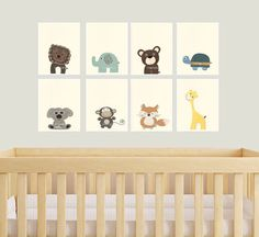 Baby Animal Nursery Art Prints Modern minimalist by DesignByMaya