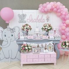 New Birthday Balloons Adult Products Ideas Girl Baby Shower Decorations, Girl Decor, Baby Shower Themes, Baby Shower Balloons, Birthday Balloons, Baby Party, Baby Shower Parties, Baby Girl First Birthday, Elephant Theme