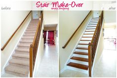 Stair Make-Over - ripped up the carpet and refinished the stairs to create an upscale hardwood stair case!