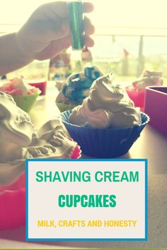 Shaving cream cupcakes activity for toddlers