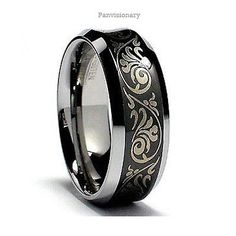 Black IP Tungsten Carbide Ring Laser Etched Florentine Concave Wedding Band 8mm