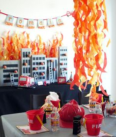 Looking for the hottest fireman party ideas? Fireman Party: Romain's Party is on Fire. Sirens are blazing for this adorable Firetruck Party! With fun flickering flames and burning building.this party is sure to impress! Fireman Party, Firefighter Birthday, Fireman Sam, Birthday Party Celebration, 3rd Birthday Parties, Fire Truck Birthday Party, 4th Birthday, Birthday Ideas, Party Party