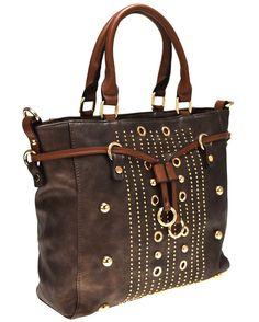 HAND BAG M683 3 BRONZO Oro Cuoio Borchie Borsa Mano Tracolla Shopping Spalla 18