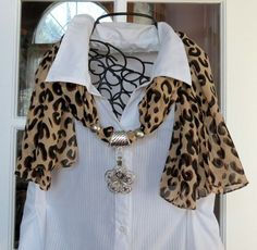 Brown Black and Tan Leopard Print Scarf with Pendant S952 | DesignsForAnAngel - Accessories on ArtFire