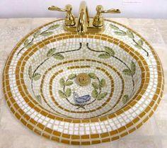Mosaic sink design for my grandma