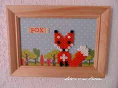 Framed fox hama perler beads by letissesbetises