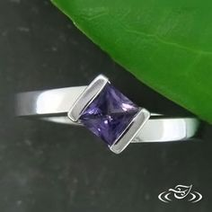 Purple Princess cut #sapphire is a unique angled setting. #GreenLakeMAde #Ido Purple Sapphire, Amethyst Color, Green Lake Jewelry, Design Your Own Ring, Engagement Ring Photos, Contemporary Bar, Bar Set, Anniversary Rings, Princess Cut