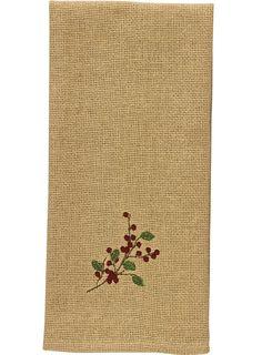 Burlap & Berries Decorative Christmas Dishtowel