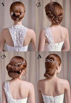 Wedding hair inspiration - Korean wedding hair style - light brown hair - wedding hair with tiara/crown - Sleek updo