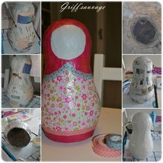 Paper mâché Matryoshka photo tutorial part 1 Making Paper Mache, Paper Mache Crafts, Recycled Crafts, Diy And Crafts, Crafts For Kids, Beautiful Feet Books, Matryoshka Doll, Paper Clay, Diy Photo
