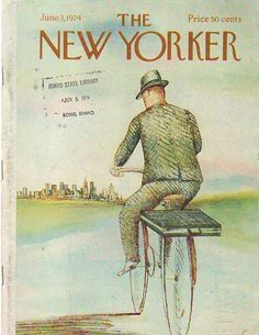 "1974 Vintage bike cover art for the New Yorker June 3. Illustration of ""The Bicycle Businessman."" Illustrator: Paul Degen."