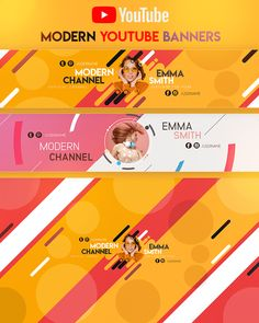 Modern YouTube Banner by youtubebanners Banner Do Youtube, Youtube Banner Design, Youtube Banner Template, Youtube Design, Banner Design Inspiration, Instagram Banner, Header Banner, Youtube Channel Art, Social Media Design